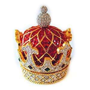 24k Gold Plated Swarovski Crystal Empress Crown Trinket Box Jewelry