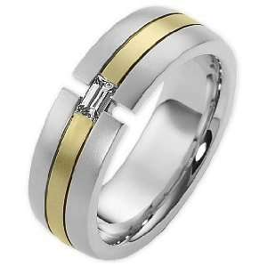 14 Karat Two Tone Gold Comfort Fit Wedding Band Ring   6.25 Jewelry