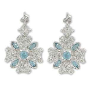 Iron Cross Earrings w/ Crystal CZ Stones & Aqua Accents Jewelry