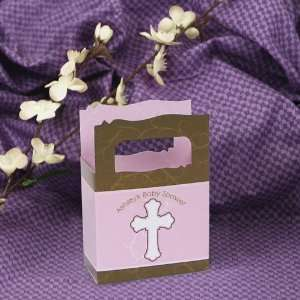 Girl Pink & Brown Cross   Mini Personalized Baby Shower Favor Boxes