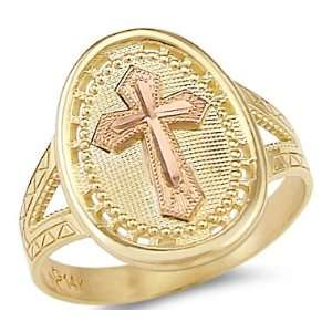 14k Yellow and Rose Two Tone Gold Cross Crucifix Ring . Jewelry