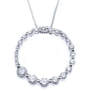 14k White Gold Journey Diamond Circle Pendant w/ Chain(0