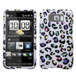 HTC EVO 4G WHITE AND COLORFUL CHEETAH LEOPARD PRINT DESIGN HARD CASE