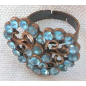 Large Blue and Bronze Heart Shaped Crystal Stone Fashion Costume Ring