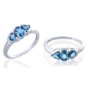 Oval & Heart Cut London Blue Topaz Ring Sterling Silver