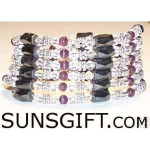 SILVER CLEAR CRYSTAL Magnetic Bracelet PURPLE