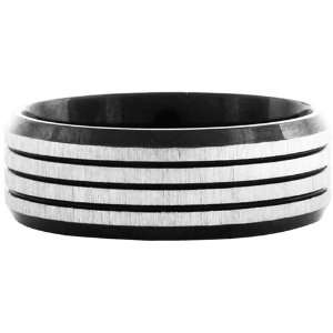 Jewelry Mens Black pvd 316L Stainless Steel Striped Ring Jewelry