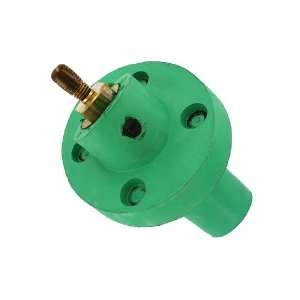 Taper Nose, Female, Panel Receptacle, 30 Degree, Threaded Stud, Green