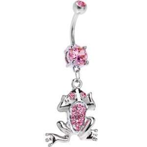 Pink Gem Paved Frog Belly Ring