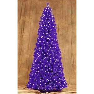 Retro Purple Tinsel Artificial Christmas Tree   Pre Lit Clear Lights
