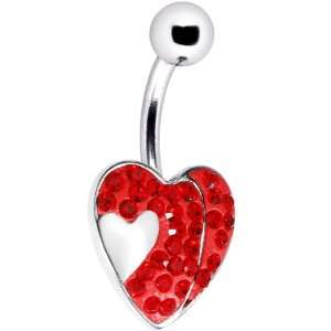 Red Gem Sparkle Heart Belly Ring Jewelry