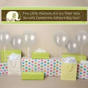 Twin Baby Elephants   Personalized Baby Shower Banner Toys & Games