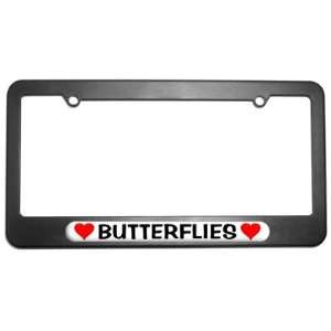 Butterflies Love with Hearts License Plate Tag Frame