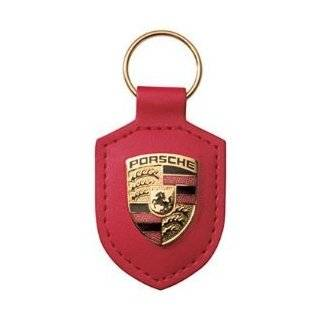 Porsche Crest Black Leather Key Chain Automotive