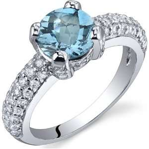 Carats Swiss Blue Topaz Ring in Sterling Silver Rhodium Finish Size 5