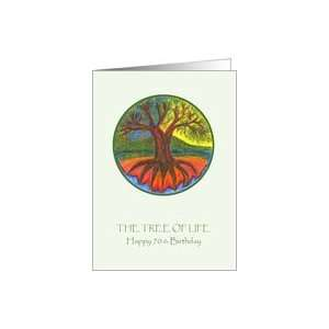 Happy 70th Birthday   the Tree of Life Illustration Card Toys & Games