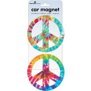 Rainbow Peace Sign   Round Die Cut Magnet Automotive