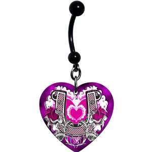 Heart Rose Horseshoe Belly Ring Jewelry