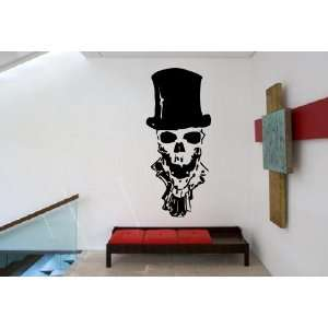 Cool Scary Human Skull with Pipe Cylinder Hat Design Wall Mural Vinyl
