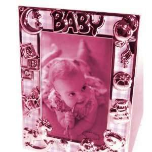 Silver Plated / Pink Gingham Baby Photo Frame Everything