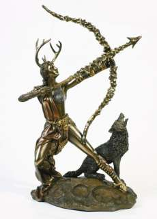 MOON GODDESS DIANA ARTEMIS ON THE HUNT STATUE FIGURINE