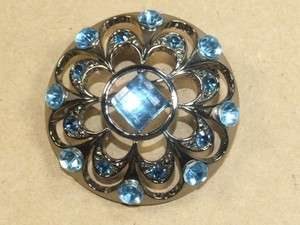 Vintage Japanned Blue Vauxhall Glass & Rhinestone Pin Brooch *