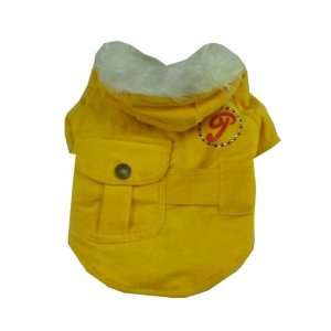 Yellow   Dog Puppy Pet Clothes Jacket Coat Hoodie  Medium