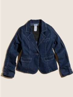 GUESS Kids Girls Pindot Denim Blazer Clothing