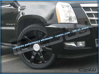 24 WHEELS RIMS TIRE PACKAGE GLOSS BLACK FOR CADILLAC ESCALADE