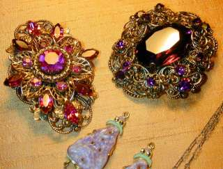 CZECH VTG ANTIQUE LOT OF ENAMEL GLASS CRYSTAL NECKLACES BROOCHES