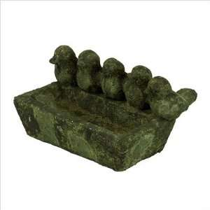 5.5 Green Stoneware Bird Feeder Statue in Moss Finish