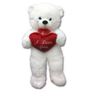 Large 30 Valentine I Love You White Teddy Bear Plush