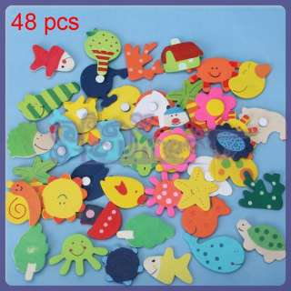 Baby Kids HANDCRAFT DIY Wooden Carton Fridge Magnet Education Toy